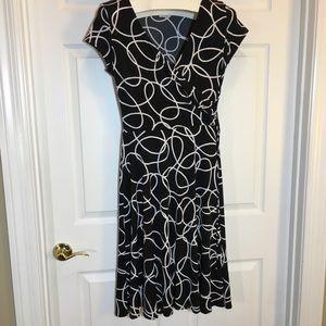 Van Heusen Geometric Design Faux Wrap Dress, Sz 10